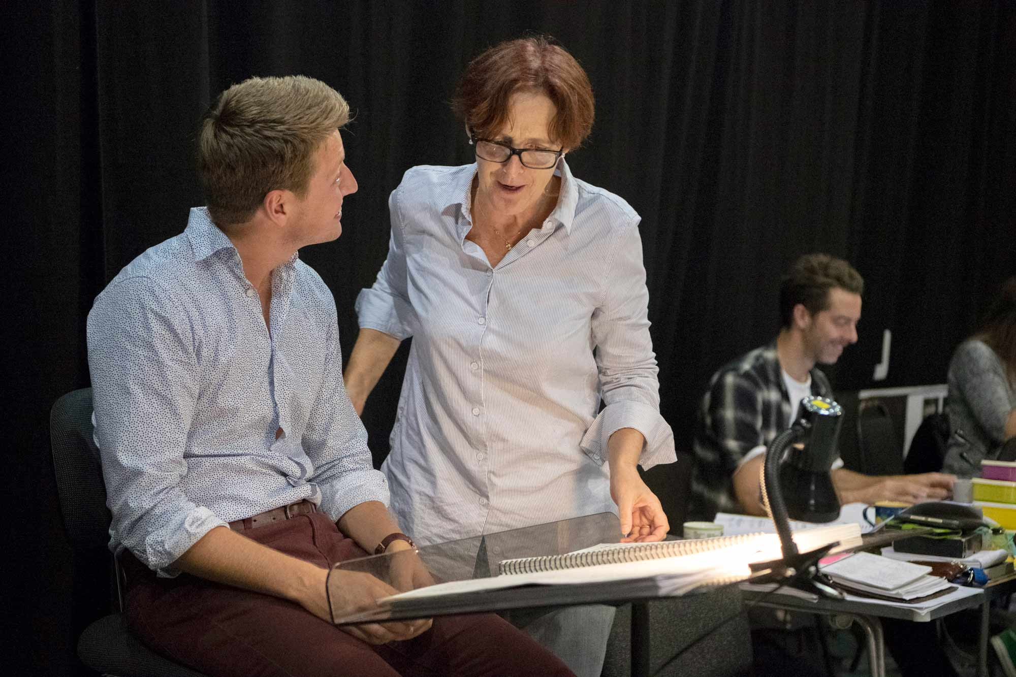 Photo of Fiona Shaw in rehearsals for Cendrillon